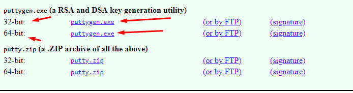 download the puttygen.exe for key generation utility