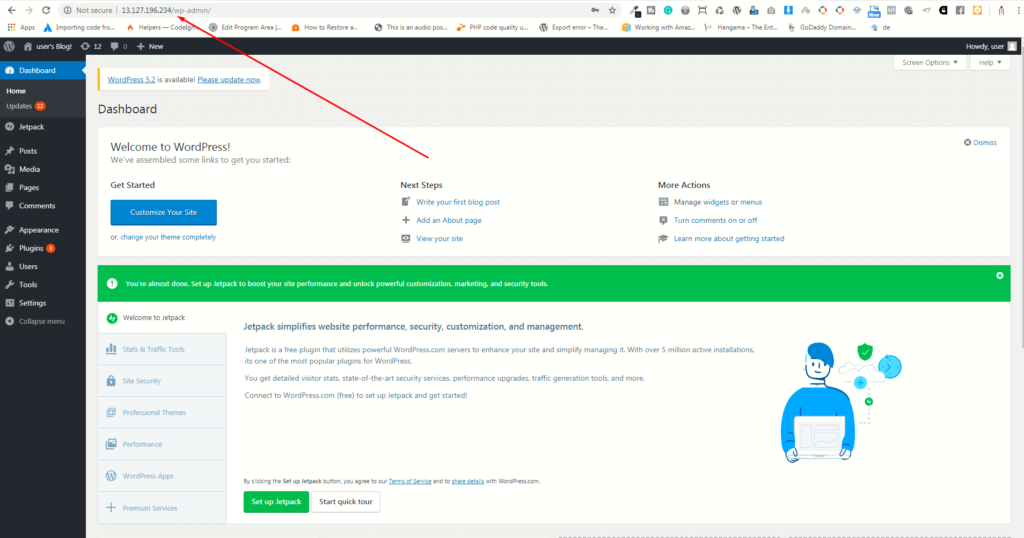 logged in in WordPress using lightsail